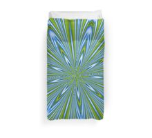 Star Burst in Lime and Blue Abstract Kaleidoscope Duvet Cover