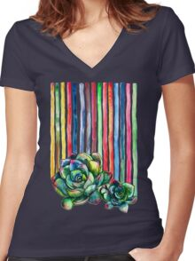 Rainbow Succulents Women's Fitted V-Neck T-Shirt