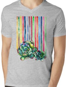Rainbow Succulents Mens V-Neck T-Shirt