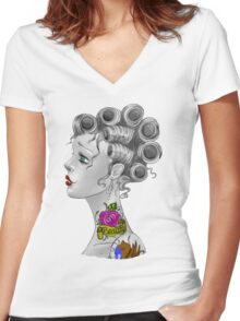 Tattooed Curlers Women's Fitted V-Neck T-Shirt
