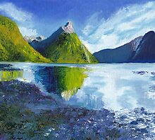 Mitre Peak on Milford Sound in New Zealand by Dai Wynn