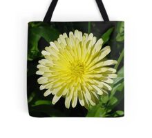 Pale Yellow Mary Bud Marigold With Garden Background Tote Bag