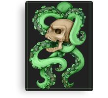 Skull with Neon Tentacles Canvas Print