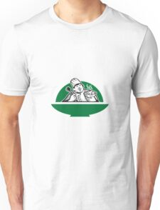 Fat Chef Cook Holding Bowl Spoon Retro Unisex T-Shirt