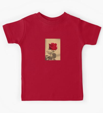 Red Rose Flower Isolated on Sepia Background Kids Tee