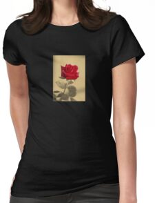 Red Rose Flower Isolated on Sepia Background Womens Fitted T-Shirt