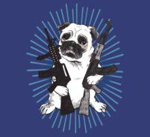BAD dog – blue armed pug by Jenny Holmlund