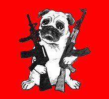 BAD dog – armed pug by Jenny Holmlund