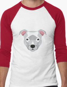 White Staffordshire Bull Terrier Men's Baseball ¾ T-Shirt