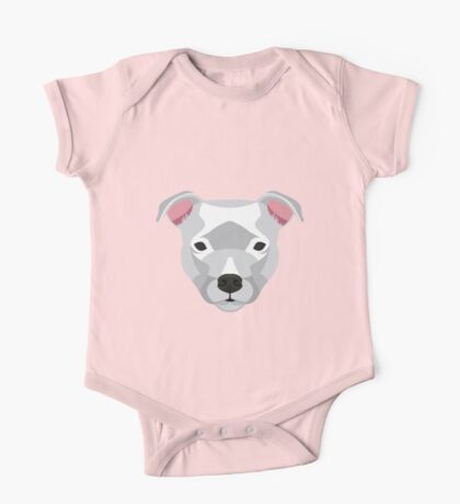 White Staffordshire Bull Terrier One Piece - Short Sleeve