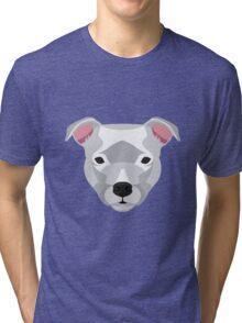 White Staffordshire Bull Terrier Tri-blend T-Shirt