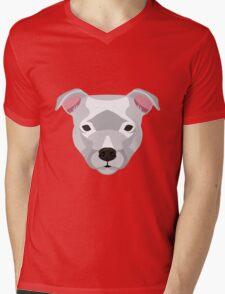 White Staffordshire Bull Terrier Mens V-Neck T-Shirt