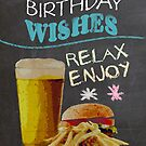 Trendy Chalk Board Effect, With Beer Burger And Fries by Moonlake
