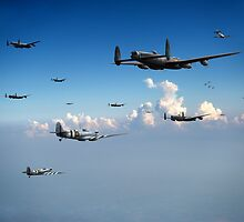 Spitfires escorting Lancasters by Gary Eason + Flight Artworks