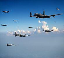 Spitfires escorting Lancasters by Gary Eason + Flight Artworks