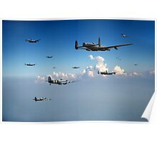 Spitfires escorting Lancasters Poster