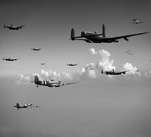 Spitfires escorting Lancasters black and white version by Gary Eason + Flight Artworks