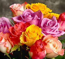 Beautiful Bouquet Of Multicolor Roses by Bo Insogna