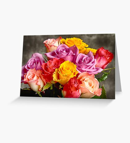 Beautiful Bouquet Of Multicolor Roses Greeting Card