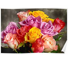 Beautiful Bouquet Of Multicolor Roses Poster