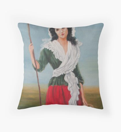 Woman With A Basket Of Flowers Throw Pillow