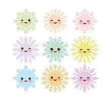 Kawaii snowflakes Photographic Print