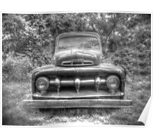 Vintage Ford Truck No. 1 HDR Monochrome Poster