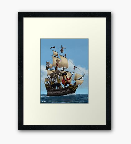 cartoon-animal-pirate-ship-martin-davey Framed Print