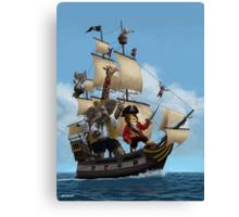 cartoon-animal-pirate-ship-martin-davey Canvas Print