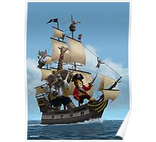 cartoon-animal-pirate-ship-martin-davey Poster