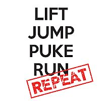 Lift, Jump, Puke, Run - REPEAT Photographic Print
