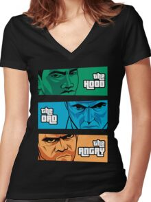 the Hood, the Dad & the Angry Women's Fitted V-Neck T-Shirt
