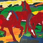 Franz Marc - Red Horses by William Martin