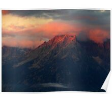Orange Grand Teton Mountains Poster