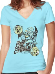 The Prank Call of Cthulhu Women's Fitted V-Neck T-Shirt