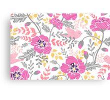 Pastel pink poppies pattern Canvas Print