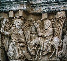 Angel and Balaam on ass tympanum St Leonard di Siponti 198404050011 by Fred Mitchell
