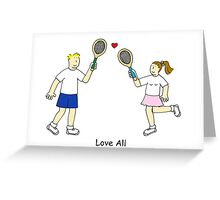 Tennis Love All Couple. Greeting Card