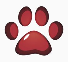 Ooh, shiny! Paw Print - Red Kids Clothes