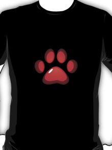 Ooh, shiny! Paw Print - Red T-Shirt