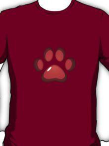 Ooh, shiny! Paw Print - Red T-Shirt