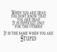 When you are dead, you don't know that you are dead. It is difficult only for the others.  It is the same when you are Stupid by SlubberBub