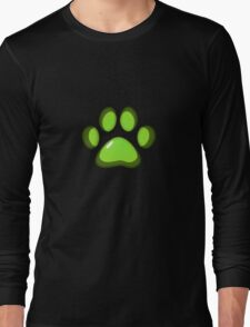 Ooh, shiny! Paw Print - Green Long Sleeve T-Shirt