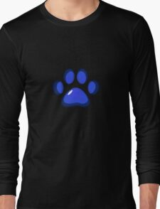 Ooh, shiny! Paw Print - Blue Long Sleeve T-Shirt