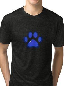 Ooh, shiny! Paw Print - Blue Tri-blend T-Shirt