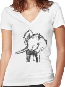 Sketched Elephant Women's Fitted V-Neck T-Shirt
