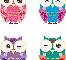 bright colorful owls on black background by EkaterinaP