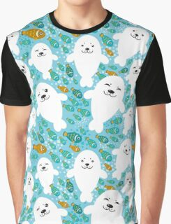 cute seal and fish in water Graphic T-Shirt