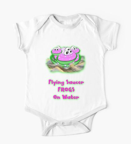 Flying Saucer Frogs on Water T-shirt One Piece - Short Sleeve