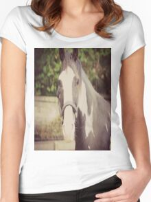 Black and White Pinto Horse Women's Fitted Scoop T-Shirt